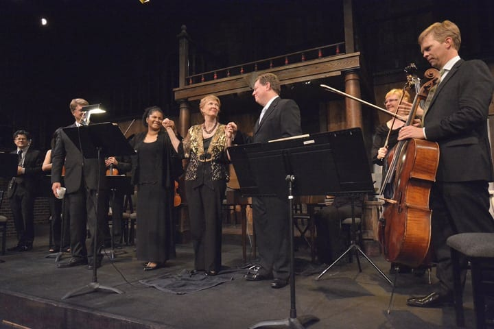 Paula Peace (center) is stepping down after 38 years as the artistic director of the chamber players. (Photo by Nick Arroyo)