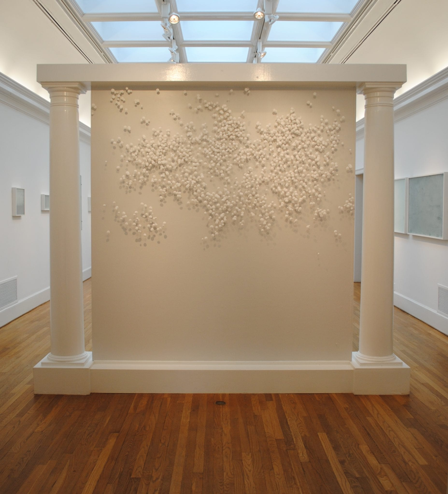 Morgan Alexander: installation drawing (population); Salt, steel (Photo courtesy Swan Coach House Gallery)