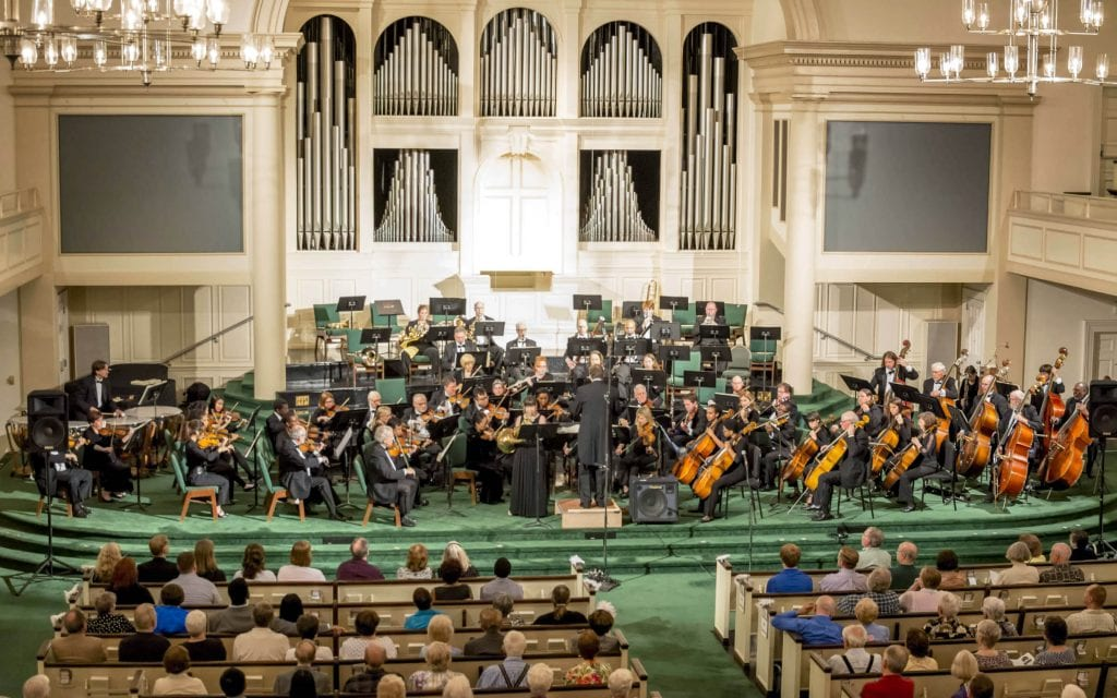 The DeKalb Symphony Orchestra, with guest soloist Susan Welty, performs Horn Concerto No. 1, Op. 11, by Richard Strauss. (Photo by  Jeff Alperin)