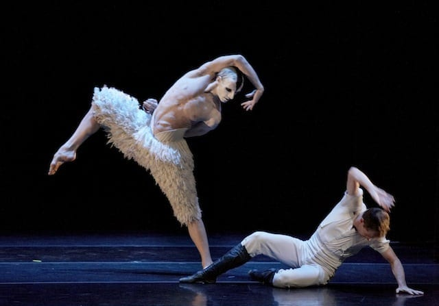 """Domenico Luciano (left) and Dominic Walsh dance the """"White Swan"""" portion of """"Swan Lake.""""  (Photo by Gabriella Nissen)"""