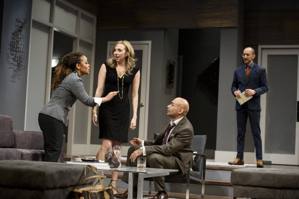 Tinashe Kajese (left to right), Courtney Patterson, Andrew Ramcharan Guilarte and Andrew Benator play well-drawn characters in Disgraced. (Photos by Greg Mooney)