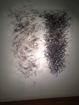 Elyse Defoor: Exposures 5 & 6, charcoal, graphite, marker and tape.