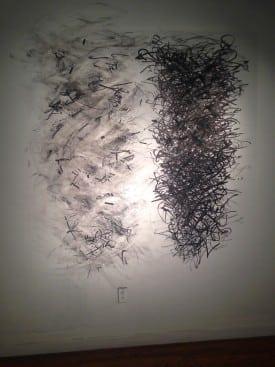 Elyse Defoor: Exposures 5 & 6, charcoal, graphite, marker and tape.