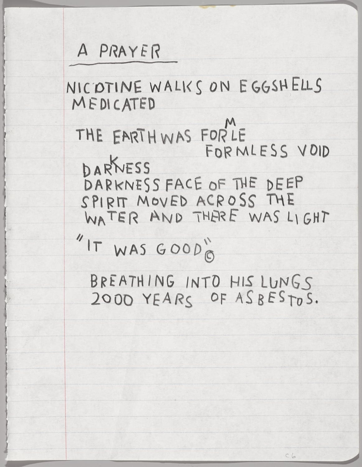 ean-Michel Basquiat (American, 1960–1988). Untitled Notebook Page, ca.1987. Wax crayon on ruled notebook paper, 9 5/8 x 7 5/8 in. (24.5 x 19.4 cm). Collection of Larry Warsh. © Estate of Jean-Michel Basquiat, all rights reserved. Licensed by Artestar, New York. Photo: Sarah DeSantis, Brooklyn Museum.
