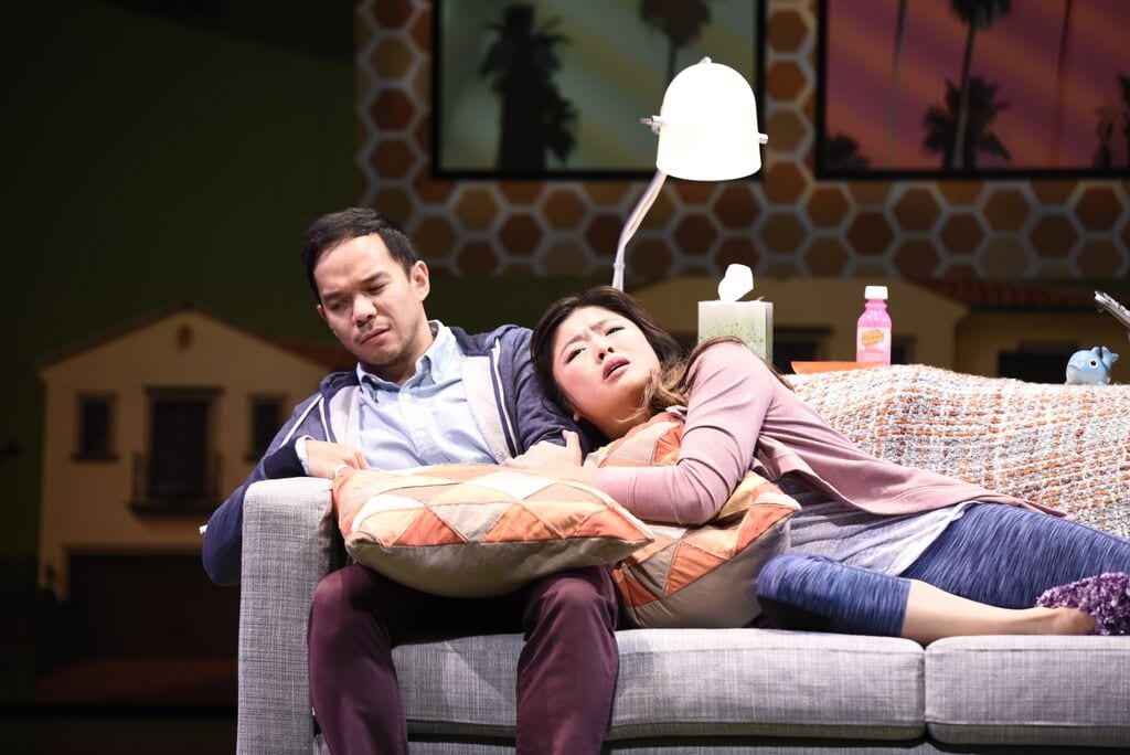 Jon Norman-Schneider (left) and Ruibo Qian play co-dependent siblings. (Photos by Greg Mooney)