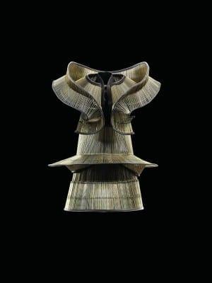 Iris van Herpen's dress, Chemical Crows, January 2008, is constructed of tines from children's umbrellas. (Photo by Bart Oomes, No 6 Studios.) © Iris van Herpen.