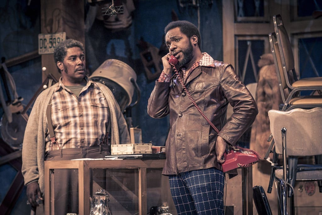 G Valmont Thomas (left) and Neal Ghant in American Buffalo. (Photo by Daniel Parvis)