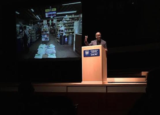 Theaster Gates speaking at Emory. Image courtesy Floyd Hall.