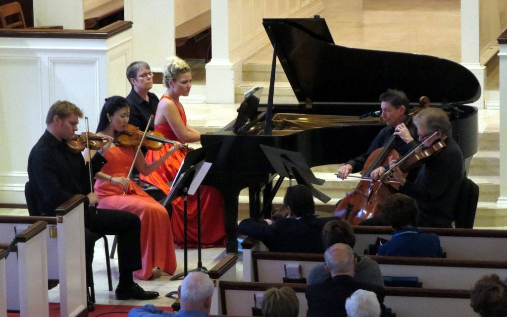 The Georgia Chamber Players (clockwise): David Coucheron, guest violinist Helen Hwaya Kim, Julia Coucheron (with page turner Rebecca Beavers) Christopher Rex and Reid Harris. (Photo by Mark Gresham)