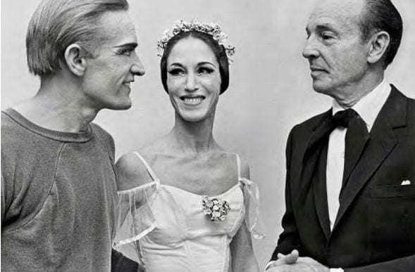 Robert Barnett (left) and Ginger Barnett with George Balanchine. (Photo courtesy Atlanta Ballet)