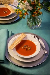 "Gingered Red Pepper and Tomato Soup. Reprinted with permission from ""The New Passover Menu"" © 2015 by Paula Shoyer, Sterling Publishing Co., Inc. Photography by Michael Bennett Kress."