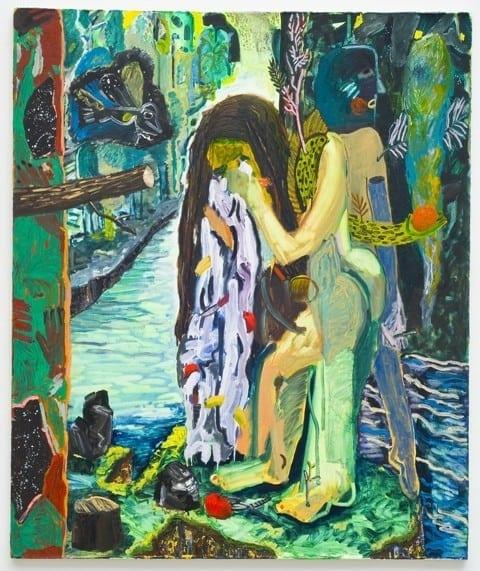 Shara Hughes, Green Monster, 2013; Oil, enamel, acrylic, spray paint on canvas, 54 x 60 inches (Photo courtesy MOCA GA)