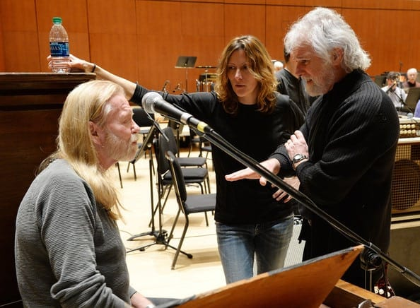 Leavell with Gregg Allman and Michelle Malone at rehearsals for the Georgia music tribute at Symphony Hall in 2014.