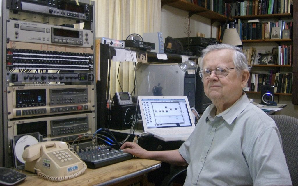 Dick Robinson in his home studio as he prepared for a 2012 concert.