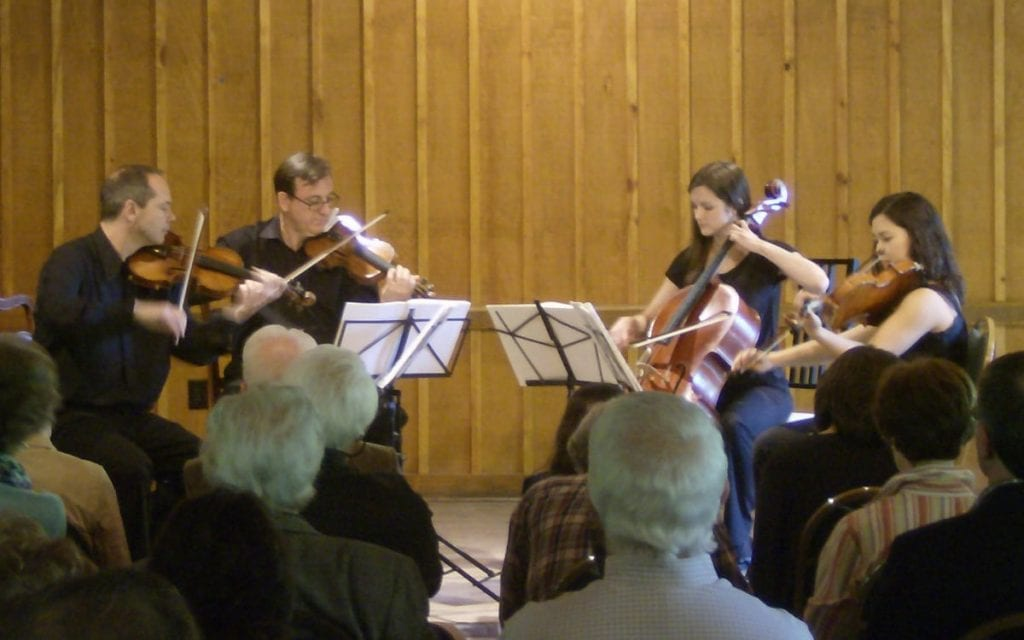 The Peachtree String Quartet, from left to right: Christopher Pulgram, John Meisner, Jennifer Humphreys and Yang-yoon Kim.