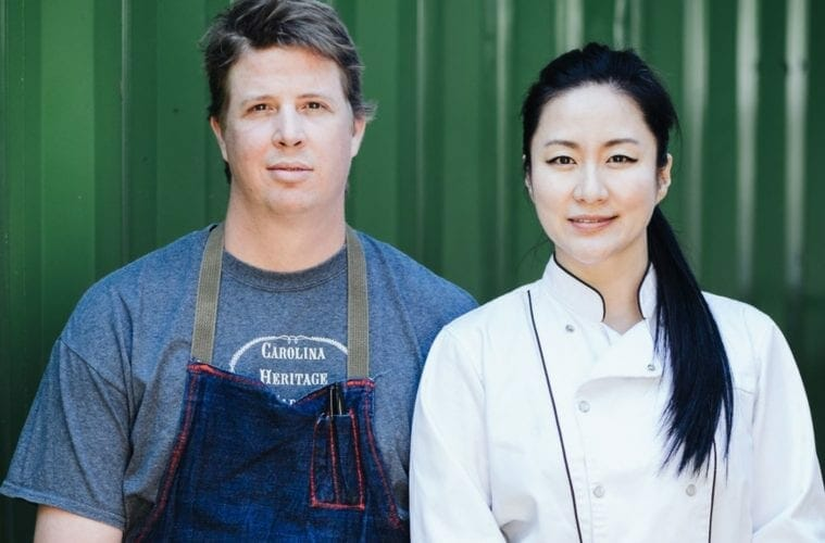 Heirloom Market BBQ chefs Jiyeon Lee (right) and Cody Taylor.