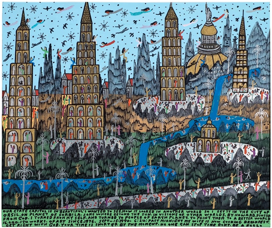 Howard Finster, In Visions of Another World - September 15, 1990, mixed media on wood