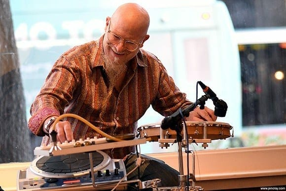 Klimchak performs on his unusual instruments.