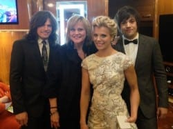 Jan Smith at the Country Music Awards with The Band Perry -- Neil, Kimberly and Reid Perry -- in Nashville.  (Photo courtesy Jan Smith)