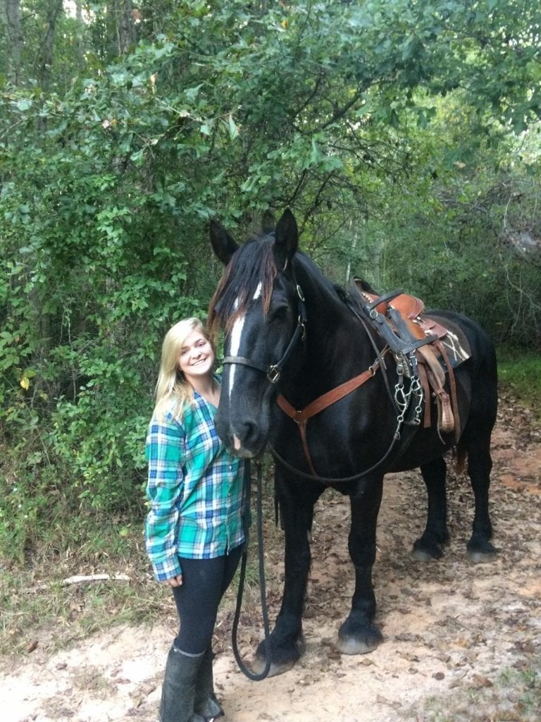 The real Headless Horseman, Anna Lanier, and Thunder the horse,