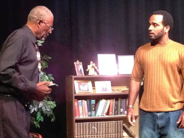 Taurean Blacque (left) and Anthony S. Goolsby in Levi. (Photo courtesy Rising Sage Theatre Company)