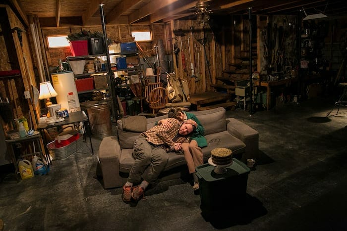"""Mary Lynn Owen and Travis Smith in """"Downstairs"""" at Actor's Express."""