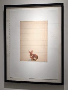 """""""Baby / Bunny prisma pencils on antiqued collaged paper 32.75 x 24.75. (Image courtesy artist.)"""