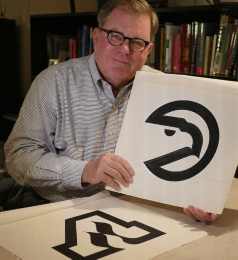 ob Wages with the 1972 Atlanta Hawks and Atlanta Flames logos. (Photo by ©Paul Wages, 2014.)