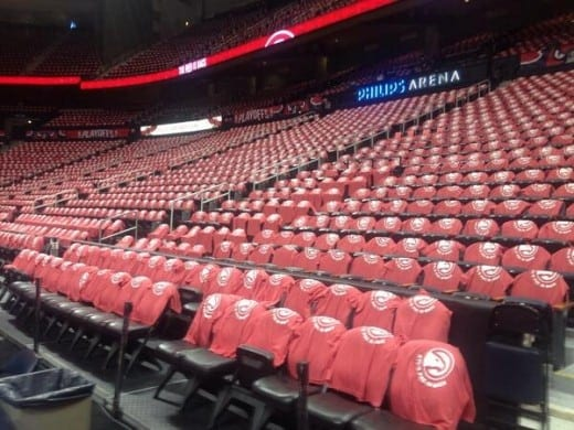 T-shirts with the new/old Atlanta Hawks logo decorated the arena