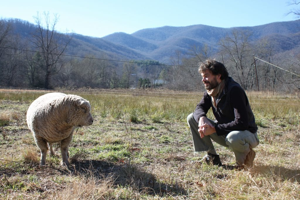 "Badoud with one of the residency's many ""residents."" Image by Dayna Thacker courtesy Hambidge Center for the Arts."