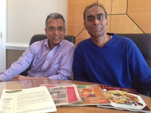 Khabar's editors, from left, Editor-in-Chief Parthiv Parekh and Managing Editor Murali Kamma.