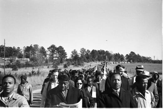 Steve Shapiro: Selma, 1965. From left, Andrew Young, Ralph Abernathy, Martin Luther King, John Lewis.