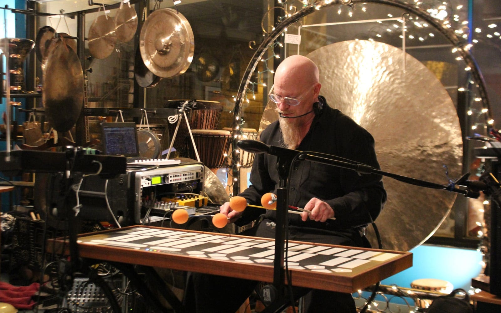 Klimchak inside his esoteric world of percussion instruments (Photo by Chris Stacks)