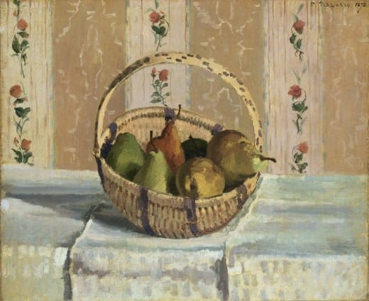 Camille Pissarro: Still Life: Apples and Pears in a Round Basket, 1872, oil on canvas. The Henry and Rose Pearlman Foundation, on long- term loan to the Princeton University Art Museum.