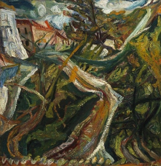 Chaïm Soutine; Chemin de la Fontaine des Tins at Céret, ca. 1920, oil on canvas, The Henry and Rose Pearlman Foundation, on long-term loan to the Princeton University Art Museum.