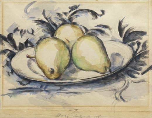 Paul Cézanne: Three Pears, ca. 1888–1890, watercolor, gouache, and graphite on cream laid paper. The Henry and Rose Pearlman Foundation, on long-term loan to the Princeton University Art Museum.