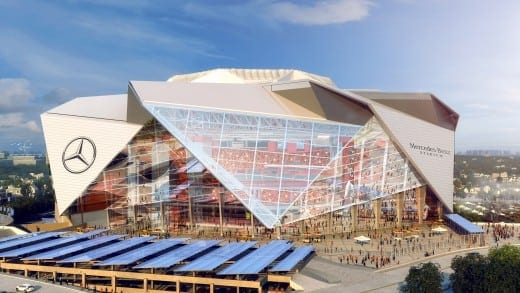 Rendering of Mercedes-Benz Stadium, designed by 360 Architecture.