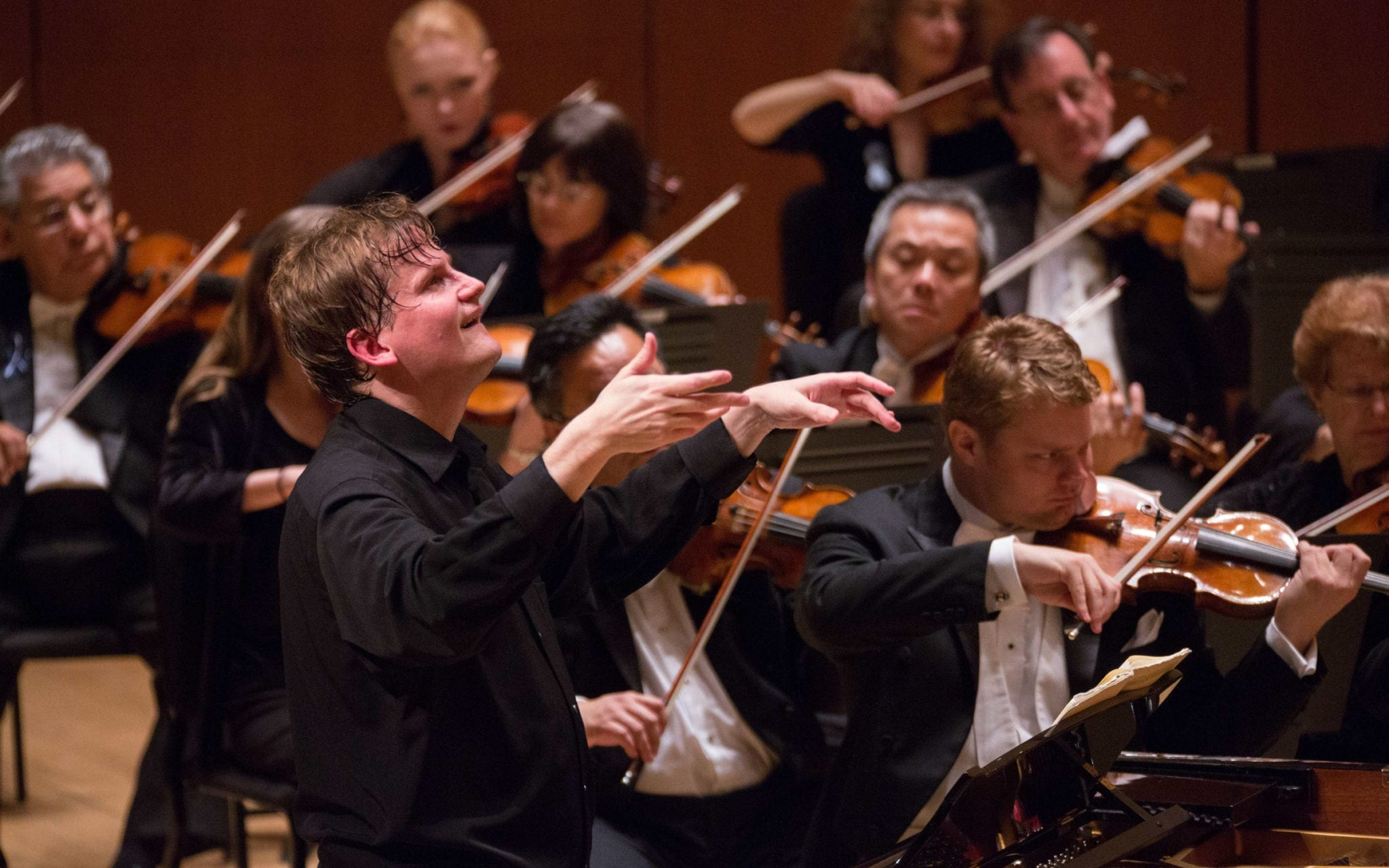 Olli Mustonen did a triple-threat with the ASO -- performing, conducting and playing his own composition. (Photo by Jeff Roffman)