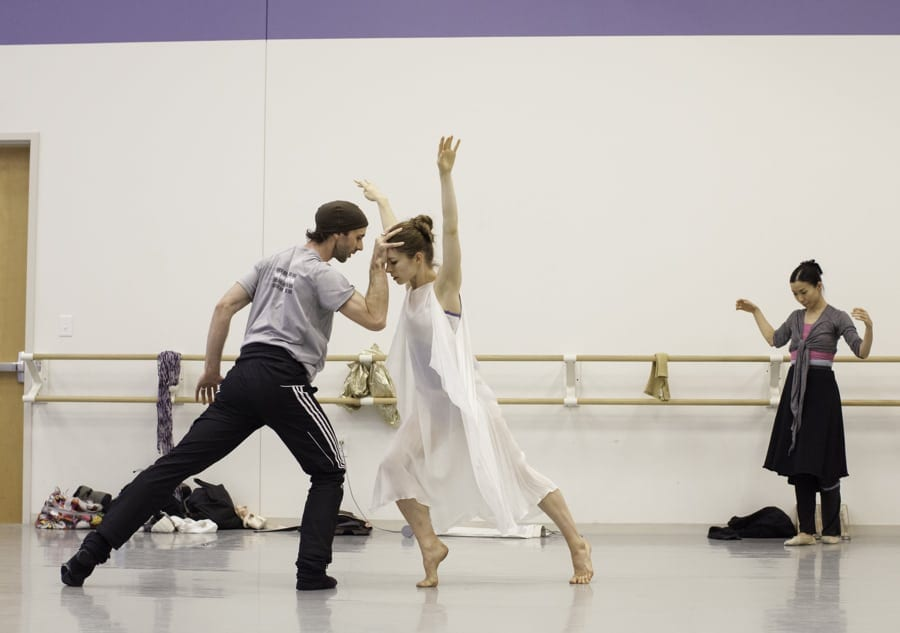Alessa Rogers in rehearsal with John Welker as Friar Laurence. (Photos by Charlie McCullers)