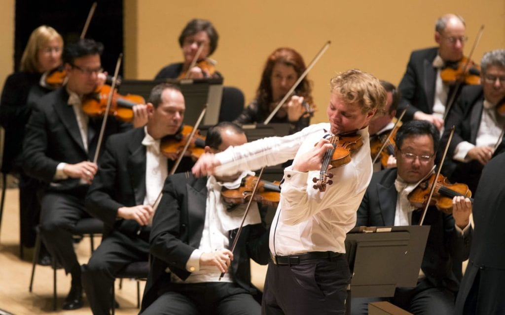 David Coucheron soloing at Symphony Hall (Photo by Jeff Roffman)