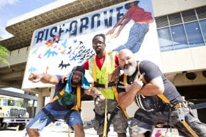 From left to right: artists Fabian Williams, Fahamu Pecou and Joe Dreher. Image courtesy WonderRoot.