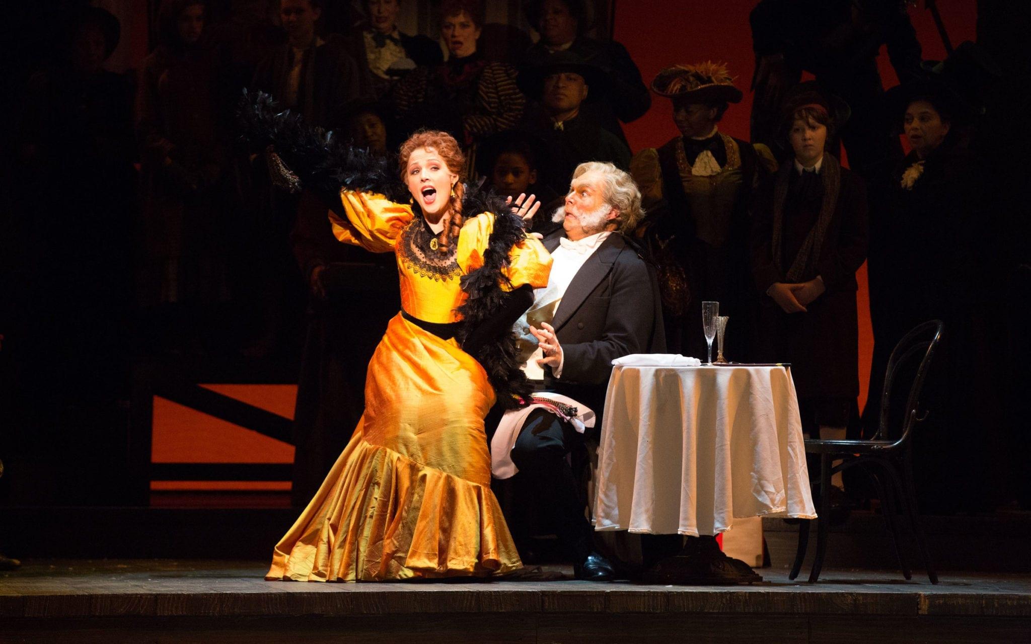 Leah Partridge's Musetta (shown Alan Higgs) is a scene stealer.