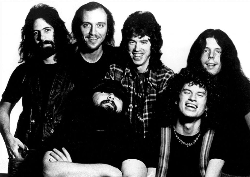 Hall (front row, right) with Wet Willie in the band's hey-day.