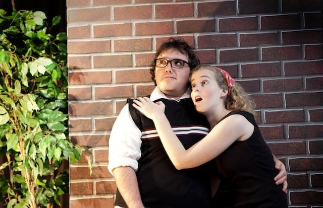 Patrick Robinson with Anna Fraasa in Little Shop of Horrors by Jerry's Habima Theatre (Photo by Katie Wilson)