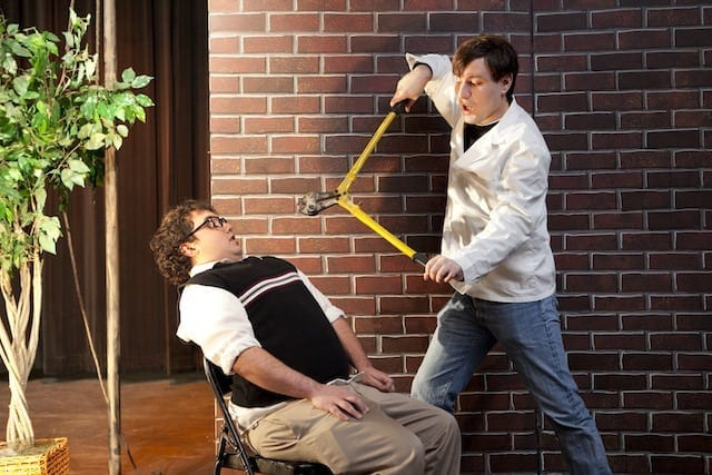 Patrick Robinson with Sam Gross as the dentist in Little Shop of Horrors by Jerry's Habima Theatre