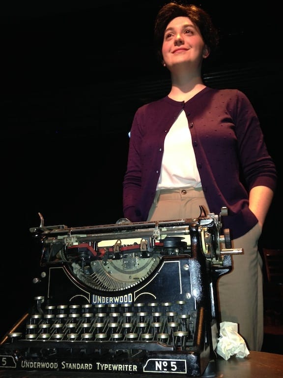 Lee with the antique typewriter loaned by author Terry Kay.