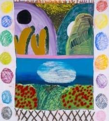Shara Hughes, Many Moons, 2014; Oil, enamel, acrylic, spray paint on canvas; 64 x 58 inches (Photo courtesy of MOCA GA).