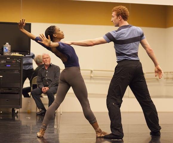 McFall watches Kiara Felder and Heath Gill dance his choreography in Three. (Photo by Charlie McCullers)
