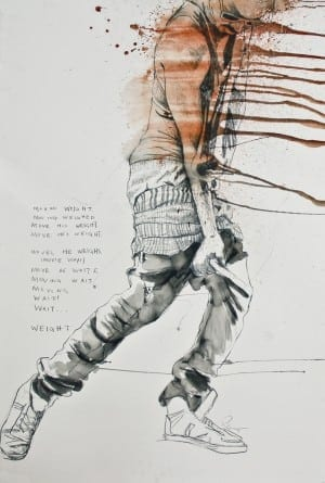 Fahamu Pecou: Moving Weight, 2014 graphite and acrylic on paper, 60 x 40 inches
