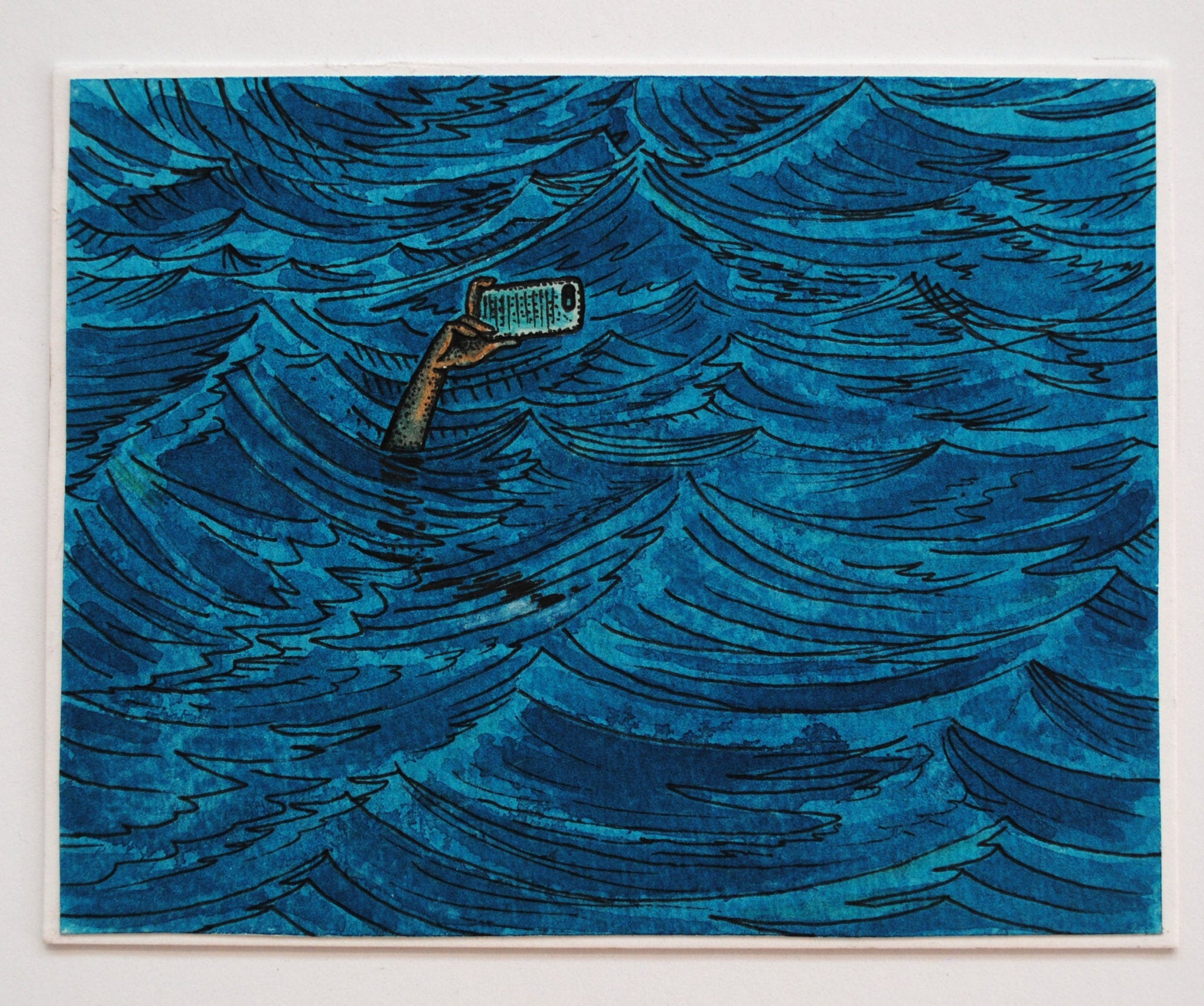 "Narcissus (Selfie), 2015. Ink, crayon,15""x20"""